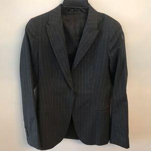 Theory Charcoal Gray Pinstripe Blazer Jacket sz 2